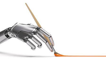 ブラシのクローズ アップとロボット アームの絵画。人工知性創造性の概念 3 d イラストレーション