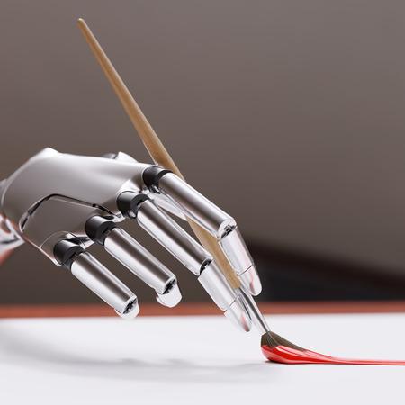 브러시 근접 촬영과 로봇 팔 그림입니다. 인공 지능 창의력 개념 3d 일러스트 레이 션
