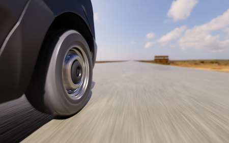rural road: Commercial Van Wheel Closeup Motion Blurred 3d Illustration Background