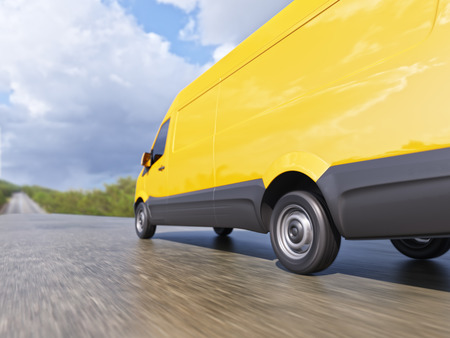 auto service: Yellow Delivery Commercial Van on Countryside Road Motion Blurred 3d Illustration Concept Stock Photo