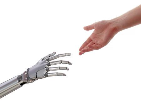 Mens en robot aanraken van kunstmatige intelligentie partnerschap concept 3d illustratie geïsoleerd op een witte achtergrond Stockfoto