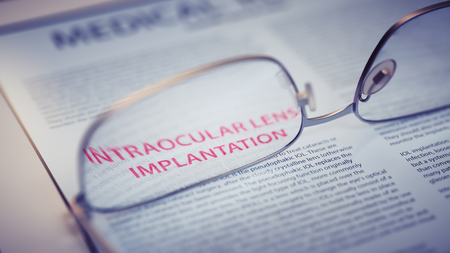 corrective: Intraocular Lens Implantation Article Title Highlighted Through Eyeglasses Closeup. Vision Surgery Concept 3d Illustration Stock Photo