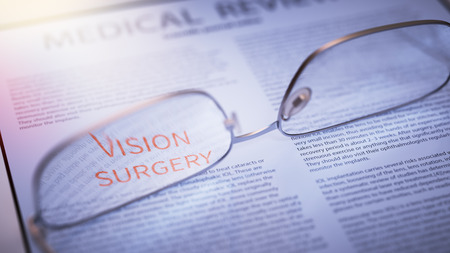 doctor tablet: Vision Surgery Article Title Highlighted Through Eyeglasses Closeup. Corrective Surgery Concept 3d Illustration Stock Photo