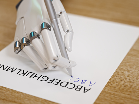 Robot Trying to Reproduce Letters on Sheet of Paper Closeup. Artificial Intelligence and Machine Learning Concept 3d Illustration