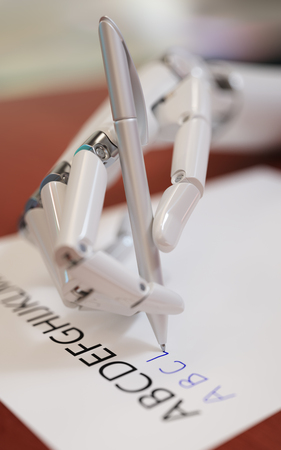 Robot Trying to Reproduce Letters on Sheet of Paper Closeup. Neural Network Machine Learning Concept 3d Illustration