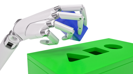 Robot Sorts Geometric Shapes Closeup. Machine Learning and Recognition Concept 3d Illustration Stock Photo