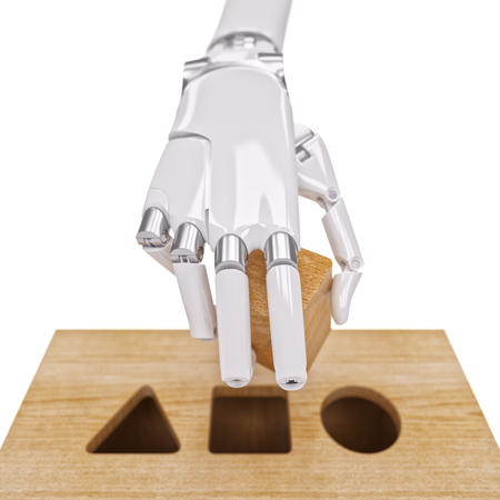 network topology: Robotic Hand and Shape Sorting Toy Closeup. Machine Learning and Recognition Concept 3d Illustration