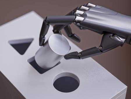 Robot는 Shorter Sorter 게임 근접 촬영에서 기하학적 인 Primitive와 일치하는 잘못된 결정을 내립니다. 기계 학습 신경 네트워크 개념 3d 일러스트 레이 션