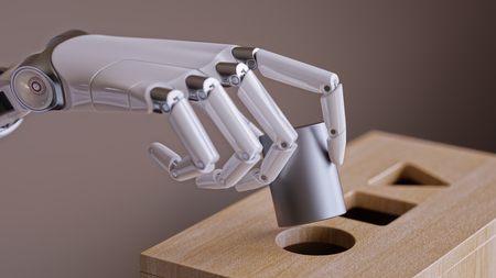 network topology: Robotic Hand with Cylinder and Shape Sorting Toy Closeup. Machine Learning and Recognition Concept 3d Illustration
