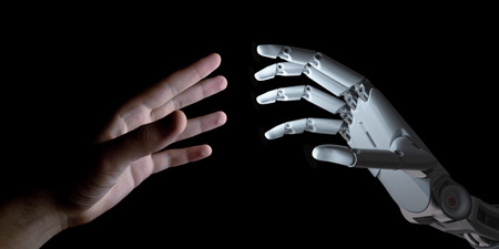 Hands of Robot and Human Touching Isolated on Black Background. Artificial Intelligence Technology Concept 3d Illustration Archivio Fotografico