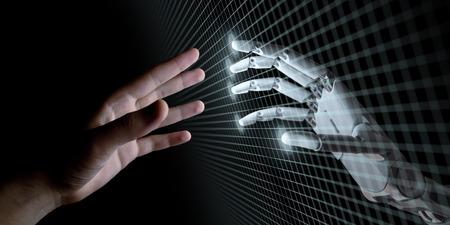 Hände des Roboters und des Menschen, die durch virtuelles Gitter auf schwarzem Hintergrund sich berühren. Illustration des künstlichen Intelligenz-Konzeptes 3d Standard-Bild - 79399770