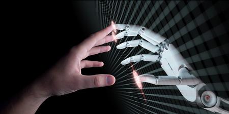 Mãos de robô e humano tocando. Realidade Virtual ou Artificial Intelligence Technology Concept Ilustração 3d