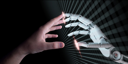 Hands of Robot and Human Touching. Virtual Reality or Artificial Intelligence Technology Concept 3d Illustration