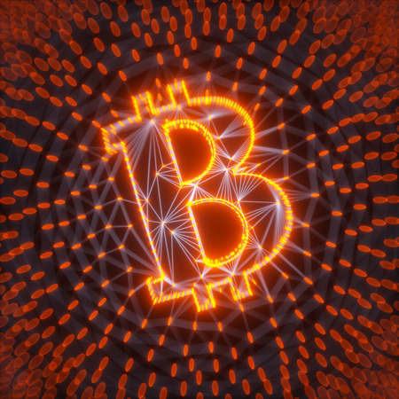 Abstract Bitcoin Sign Built as an Array of Transactions in Blockchain Conceptual 3d Illustration Background