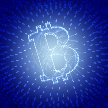 Blue Abstract Bitcoin Sign Built as an Array of Transactions in Blockchain Conceptual 3d Illustration Background