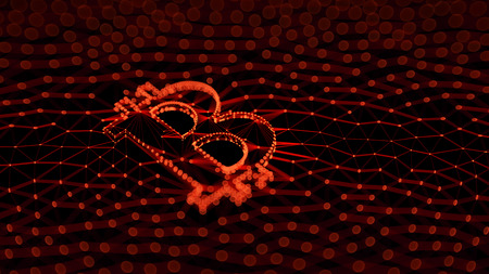 Abstract Red Bitcoin Sign Built as an Array of Transactions in Blockchain Conceptual 3d Illustration Background