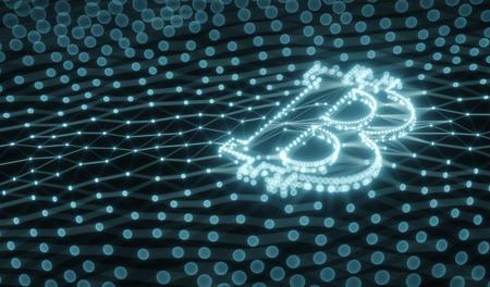 Resumen Bitcoin signo construido como un conjunto de transacciones en Blockchain Conceptual 3d ilustración de fondo Foto de archivo