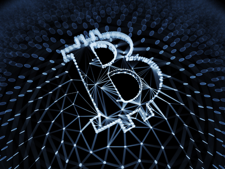 Abstract Bitcoin Sign Built as an Array of Transactions in Blockchain Conceptual 3d Illustration Background Stock Illustration - 82041174