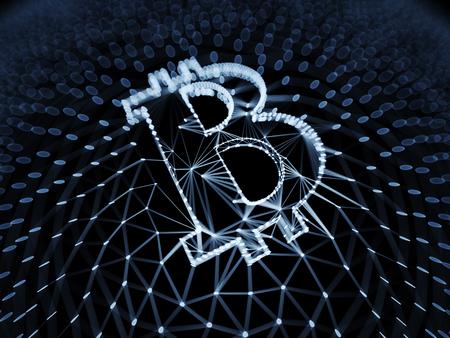 Abstrait signe Bitcoin construit comme un tableau de transactions dans Blockchain Conceptuel 3d Illustration fond Banque d'images - 82041174