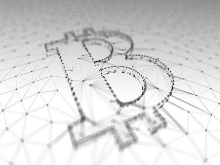 抽象的な黒と白の Blockchain 概念 3 d 図の背景内のトランザクションの配列として建てられた Bitcoin 記号