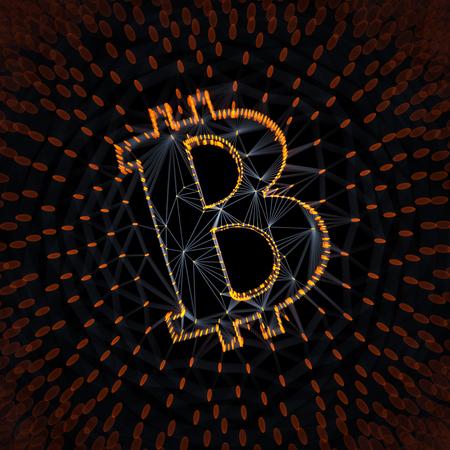 Blockchain 개념적 3d 일러스트 배경에서 거래의 배열로 지어진 추상 Bitcoin 로그인 스톡 콘텐츠