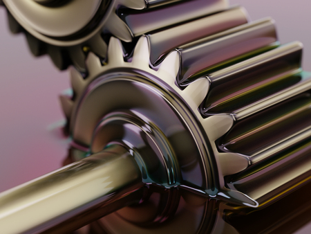 Gears Submerged in Motor Oil 3d Illustration Closeup