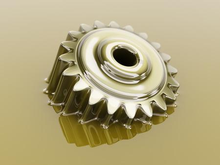 歯車潤滑油クローズ アップ概念 3 d イラストに浸漬 写真素材