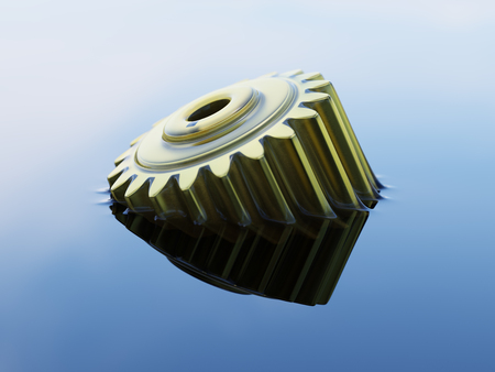 Cogwheel Submerged in Lubricant Oil Closeup Concept 3d Illustration Stock Illustration - 85002251