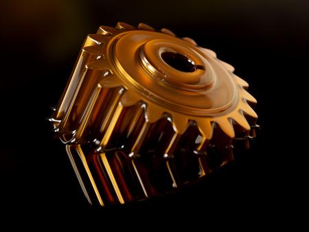 Tandrad ondergedompeld in smeerolie Close-up Concept 3d illustratie op zwarte achtergrond