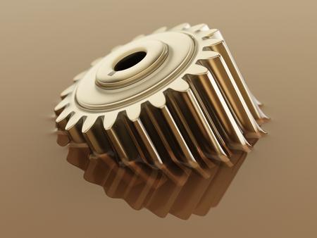 歯車は潤滑油のクローズコンセプト3d イラストレーションに沈め