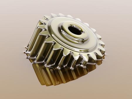 Cogwheel 윤활제 석유 확대 사진 개념 3D 그림에 잠긴
