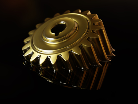 Cogwheel Submerged in Lubricant Oil Closeup Concept 3d Illustration on Black Background Stock Photo