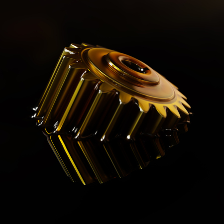 Cogwheel Submerged in Lubricant Oil Closeup Concept 3d Illustration on Black Background Imagens