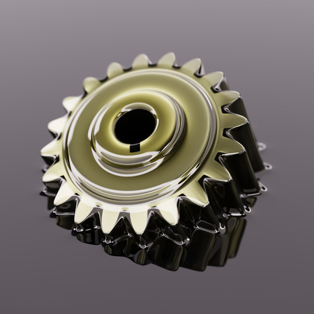Cogwheel Submerged in Lubricant Oil Closeup Concept 3d Illustration Banco de Imagens