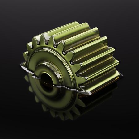歯車は、黒の背景に潤滑油のクローズコンセプト3d イラストに水没
