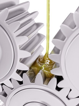 Oiling Gears Closeup 3d Illustration on White Background Stock Photo