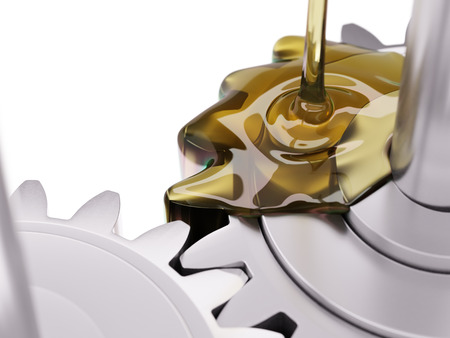 Pouring Lubricant on Gearwheel Closeup 3d Illustration on White Background Stock Photo