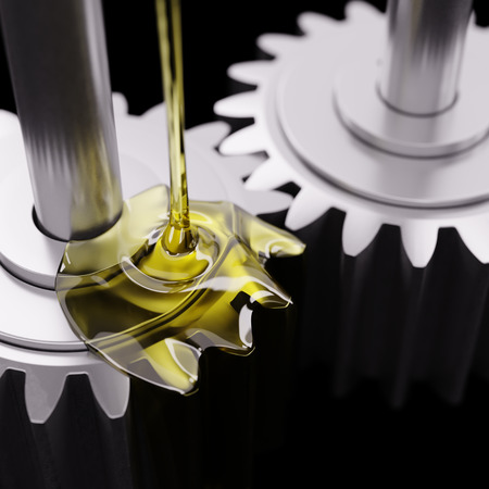 Pouring Lube on Gearwheels Closeup 3d Illustration