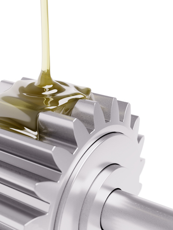 greasing: Oiling Gears Closeup 3d Illustration on White Background Stock Photo
