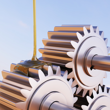 greasing: Gears Lubrication Closeup 3d Illustration