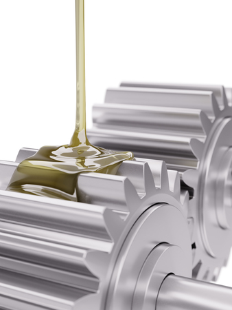 greasing: Gears Lubrication Closeup 3d Illustration on White Background
