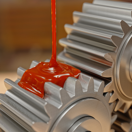 greasing: Pouring Lubricant on Gears Closeup 3d Illustration