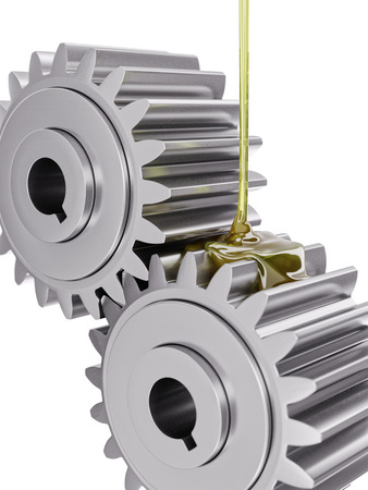 Oiling Gears Closeup 3d Illustration on White Background Фото со стока