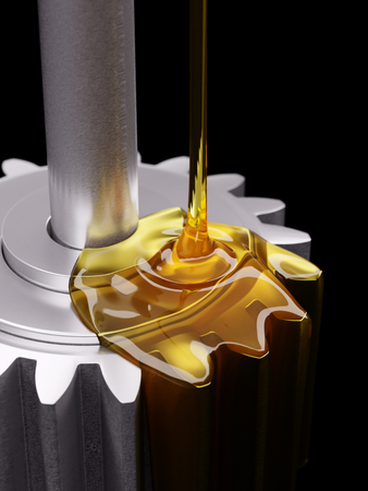 greasing: Pouring Lube on Gearwheels Closeup 3d Illustration
