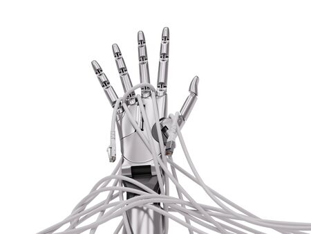 Robot Hand Rising Up Through Computer Cables Artificial Intelligence Concept 3d Illustration Isolated on White Banco de Imagens