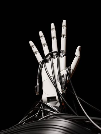 Robot Hand Rising Up Through Computer Cables Artificial Intelligence Concept 3d Illustration Isolated on Black