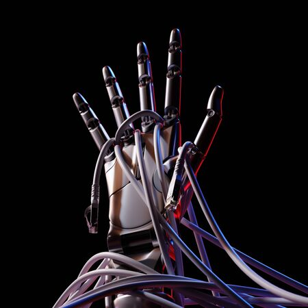 Robot Hand Rising Up Through Computer Cables Artificial Intelligence Concept 3d Illustration on Dark Background Banco de Imagens