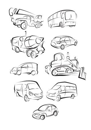 Ilustracja zestaw Samochody na białym tle