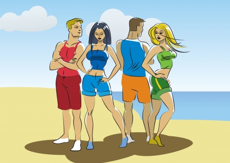 Beach sun illustration of four persons