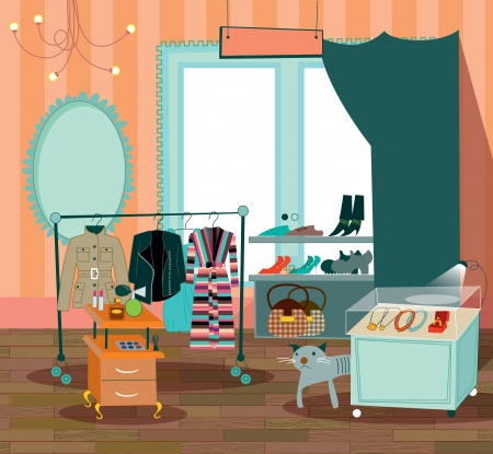 closets: fashion boutique illustration of clothing shop
